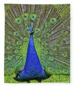 Peacock In A Oak Glen Autumn 3 Fleece Blanket