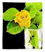 Rose In Vase Fleece Blanket