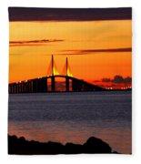 Sunset Over The Skyway Bridge Fleece Blanket