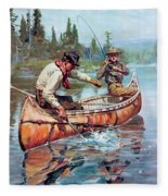 Two Fishermen In Canoe Fleece Blanket