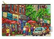 Monkland Tavern Corner Old Orchard Montreal Street Scene Painting Carry-all Pouch by Carole Spandau