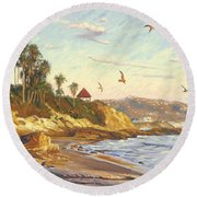 Heisler Park Rockpile At Twilight Round Beach Towel