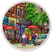 Monkland Tavern Corner Old Orchard Montreal Street Scene Painting Round Beach Towel by Carole Spandau