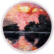 Sunset. After Storm. Round Beach Towel