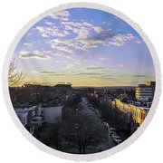 Sunset Row Homes Round Beach Towel