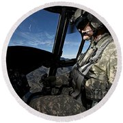 Co-pilot Flying A Ch-47 Chinook Round Beach Towel