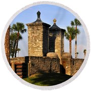 The Old City Gates Round Beach Towel by David Lee Thompson