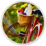 A Loaf Of Bread A Jug Of Wine And A Bike Round Beach Towel by Elaine Plesser