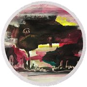 Abstract Twilight Landscape71 Round Beach Towel
