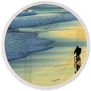 Beach Biker Round Beach Towel
