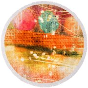 Branches And Brush Strokes Round Beach Towel