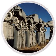 Carhenge In The Afternoon Round Beach Towel