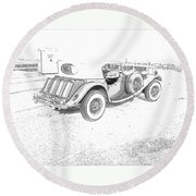 Drawing The Antique Car Round Beach Towel