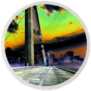 Dreaming Over The Skyway Round Beach Towel by David Lee Thompson