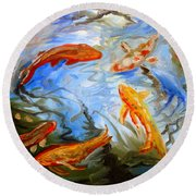 Fish Reflections Round Beach Towel