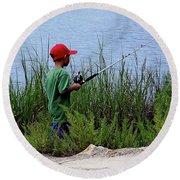 Fishing At Hickory Mound Round Beach Towel