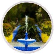 Fountain In Jardin Majorelle Morocco Round Beach Towel