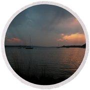 Glenmore Reservoir - Sunset 3 Round Beach Towel by Stuart Turnbull