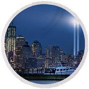 Ground Zero Tribute Lights And The Freedom Tower Round Beach Towel