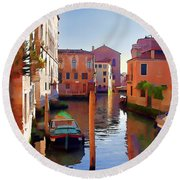 Late Afternoon In Venice Round Beach Towel