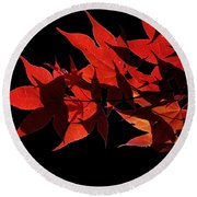 Leaves Of Red Round Beach Towel