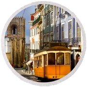 Lisbon Tram Round Beach Towel