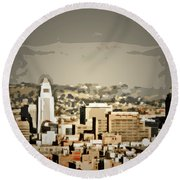 Los Angeles City Hall Round Beach Towel