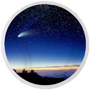 Mauna Kea Telescopes Round Beach Towel by D Nunuk and Photo Researchers