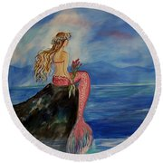Mermaid Rainbow Wishes Round Beach Towel