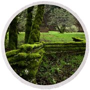 Mossy Fence 2 Round Beach Towel by Bob Christopher