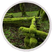 Mossy Fence 4 Round Beach Towel by Bob Christopher