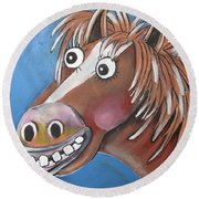 Mr Horse Round Beach Towel