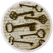 Old Keys On Letter Round Beach Towel by Garry Gay