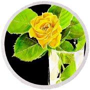 Rose In Vase Round Beach Towel