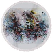 Seascape206 Round Beach Towel