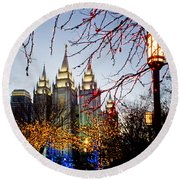 Slc Temple Lights Lamp Round Beach Towel