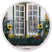 Sunflower Balcony Round Beach Towel