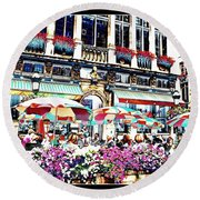 Sunny Day On The Grand Place Round Beach Towel by Carol Groenen