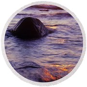 Sunset Lights Round Beach Towel