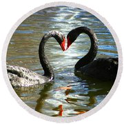Swan Heart  Round Beach Towel