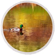 Swimming In Reflections Round Beach Towel