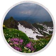 The Alps Wildflowers Round Beach Towel