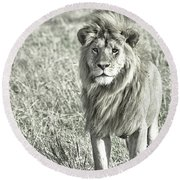 The King Stands Tall Round Beach Towel