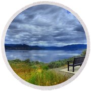 View From A Bench Round Beach Towel