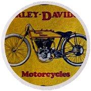 Vintage Harley Davidson Round Beach Towel