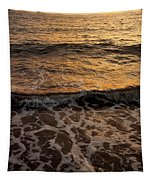 Cruise Ship Off The Beach Tapestry