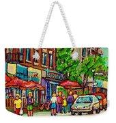 Monkland Tavern Corner Old Orchard Montreal Street Scene Painting Weekender Tote Bag by Carole Spandau