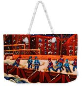 Snow Falling On The Hockey Rink Weekender Tote Bag