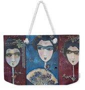 Geisha Love Triptych Weekender Tote Bag