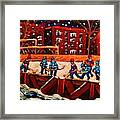 Snow Falling On The Hockey Rink Framed Print